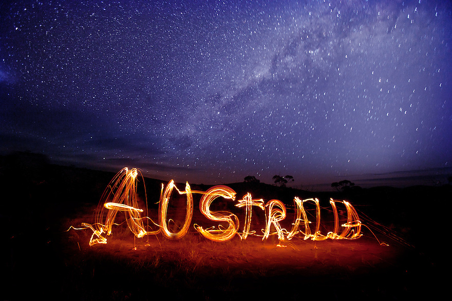 Gawler Australia  city photo : Australia written with fire sticks Gawler Ranges South Australia