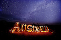 Australia written with fire sticks Gawler Ranges South Australia