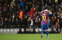 FUSSBALL   CHAMPIONS LEAGUE  HALBFINAL-RUECKSPIEL   2011/2012      FC Barcelona - FC Chelsea       24.04.2012 Drama in Barcelona; Lionel Messi (Barca) enttaeuscht