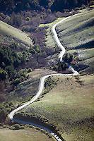 aerial photograph winding rural road San Mateo County, California