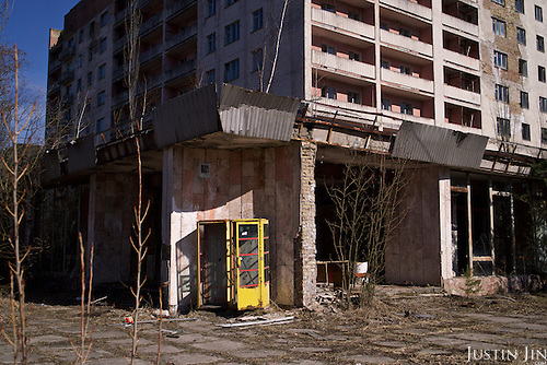 A phone booth in Pripyat, a ghost town left deserted by the nuclear disaster in the Chernobyl power station nearby. 30 years on, the city is still heavily contaminated, unfit for human life. <br /> <br /> The Chernobyl nuclear disaster happened on 26 April 1986.