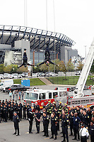 PHILADELPHIA, PA - OCTOBER 1: Firefighters with American flag at the 62nd annual Philadelphia Hero Thrill Show pictured at the Wells Fargo parking lot in Philadelphia, Pennsylvania  on October 1, 2016  photo credit  Star Shooter/MediaPunch