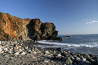 4 August 2006: Rocky sand beach at Limeklin State Park along Highway 1 through central California along the coast of Big Sur.