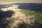 Aerial of Napa Valley looking over Silverado Trail south toward St. Helena and Napa
