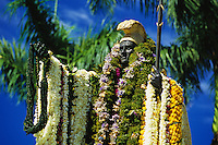 The King Kamehameha Statue draped with lei on June 11th, the day that honors him in downtown Honolulu, Hawaii