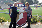26 September 2010: Outgoing WPS Commissioner Tonya Antonucci (right) ceremonially hands over control of the league to incoming WPS CEO Anne-Marie Eileraas (left) before the game. FC Gold Pride defeated the Philadelphia Independence 4-0 at Pioneer Stadium in Heyward, California in the Women's Professional Soccer championship game.