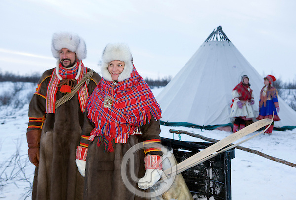 Crown Prince Haakon & Crown Princess Mette Marit of Norway on a two day visit to Finnmark in Norway, visit a Sami Reindeer herders winter settlement, near Kautokeino, in Finnmark, Northern Norway
