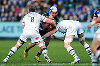 Leroy Houston of Bath Rugby takes on the London Irish defence. Aviva Premiership match, between Bath Rugby and London Irish on March 5, 2016 at the Recreation Ground in Bath, England. Photo by: Patrick Khachfe / Onside Images