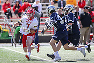 College Park, MD - April 8, 2017: Maryland Terrapins Tim Rotanz (7) avoids the Penn State Nittany Lions defenders during game between Penn State and Maryland at  Capital One Field at Maryland Stadium in College Park, MD.  (Photo by Elliott Brown/Media Images International)
