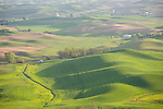 Washington,Palouse,Steptoe. The rolling hills dotted with farms amid a patchwork of fields on the Palouse as viewed from steptoe Butte on a Spring evening.