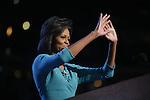 Democratic National Convention, 2008: Michelle Obama, wife of presumptive Democratic Presidential candidate Senator Barack Obama (D-Illinois), speaks at The Pepsi Center. Denver, Colorado, August 25, 2008.