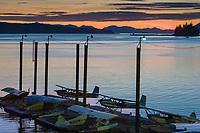 Float planes on a dock, Tongass Narrows, Ketchikan, Alaska.