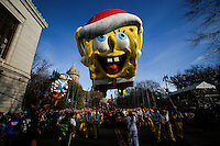 "A holiday-themed ""SpongeBob SquarePants"" float take part during the 89th Macy's Thanksgiving Annual Day Parade in the Manhattan borough of New York.  11/26/2015. Eduardo MunozAlvarez/VIEWpress"