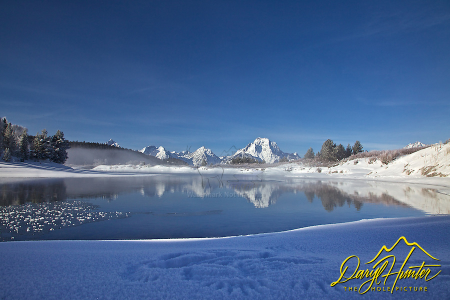 Wing tracks in the snow, Snake River, Grand Teton Reflection, Grand Teton National Park