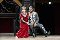 "London, UK. 22.06.2016.  Shakespeare's Globe presents ""Macbeth"", by William Shakespeare, directed by Iqbal Khan.  Picture shows:  Tara Fitzgerald (Lady Macbeth), Ray Fearon (Macbeth). Photograph © Jane Hobson."