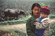 October 1984. The ancestral agricultural methods are still used in the province of Si Chuan, in the Guanghan region. Here a mother and a child with their water buffalo plowing in the background