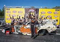 May 15, 2016; Commerce, GA, USA; NHRA funny car driver Matt Hagan celebrates with his crew after winning the Southern Nationals at Atlanta Dragway. Mandatory Credit: Mark J. Rebilas-USA TODAY Sports