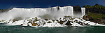 Panoramic view on US side of Niagara Falls from Canada