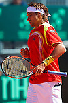 06.04.2012 Oropesa, Spain. 1/4 Final Davis Cup.David Ferrer celebrates a point during second match of 1/4 final game of Davis Cup played at Oropesa town.