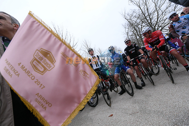 Ready for the start of the 2017 Strade Bianche running 175km from Siena to Siena, Tuscany, Italy 4th March 2017.<br /> Picture: La Presse/Gian Mattia D'Alberto | Newsfile<br /> <br /> <br /> All photos usage must carry mandatory copyright credit (&copy; Newsfile | La Presse)