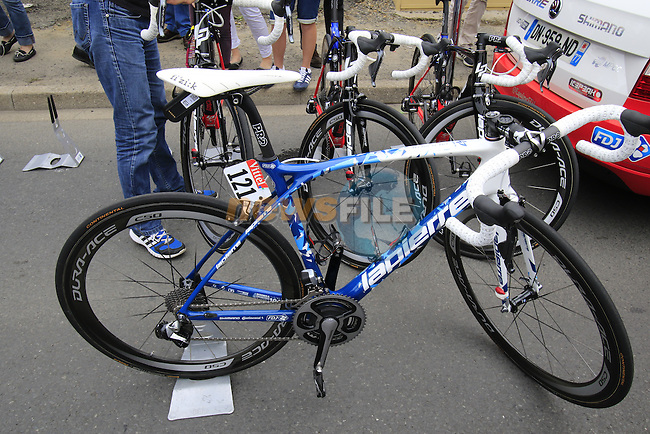 Thibaut Pinot's (FRA) FDJ Lapierre bike at the team bus before the start of Stage 3 of the 2016 Tour de France, running 223.5km from Granville to Angers, France . 4th July 2016.<br /> Picture: Eoin Clarke | Newsfile<br /> <br /> <br /> All photos usage must carry mandatory copyright credit (&copy; Newsfile | Eoin Clarke)