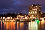Christmas light display along to boardwalk of Lake Coeur d'Alene.