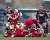 Peter Stringer of Saracens RFC plays quickly from the breakdown - London Wasps RFC vs Saracens RFC - Aviva Premiership Rugby at Adams Park, Wycombe Wanderers FC - 12/02/12 - MANDATORY CREDIT: Ray Lawrence/TGSPHOTO - Self billing applies where appropriate - 0845 094 6026 - contact@tgsphoto.co.uk - NO UNPAID USE.
