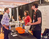 Hired, a job seeking start up at the Techweek expo in New York event on Thursday, October 15, 2015. Thousands of visionaries and entrepreneurs attended to network with established and start-up technology companies. (© Richard B. Levine)