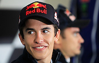 Honda MotoGP rider Marc Marquez of Spain gestures during the official press conference ahead of the Australian Grand Prix in Phillip Island near Melbourne October 17, 2013. IMAGE RESTRICTED TO EDITORIAL USE ONLY- STRICTLY NO COMMERCIAL USE. Photo by Daniel Munoz/VIEWpress