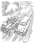 (A passenger travelling in a vintage car strikes a match on the roof of a new car as they overtake it)