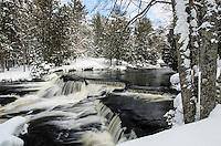 Fresh snow on along the river at Upper Bond Falls. Paulding, MI
