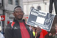A rally supporter.<br /> <br /> Cardiff, South Wales. Sunday May 11th 2014. Nigerians in Cardiff in organised rally in support of the 276 abducted school children in Chibok, Nigeria by Boko Haram terrorists. <br /> <br /> Photo by Jeff Thomas/Jeff Thomas Photography