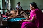 Admitted patients and their family members at the research wing of the National Research Institute of Panchakarma in Cheruthuruthy in Thissur district of Kerala, India.