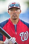 22 February 2013: Washington Nationals' catcher Kurt Suzuki awaits his turn in the batting cage during a full squad Spring Training workout at Space Coast Stadium in Viera, Florida. Mandatory Credit: Ed Wolfstein Photo *** RAW File Available ***