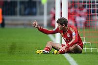 FUSSBALL  CHAMPIONS LEAGUE  ACHTELFINALE  HINSPIEL  2012/2013      FC Bayern Muenchen - FC Arsenal London     13.03.2013 Thomas Mueller (FC Bayern Muenchen) Daumen hoch