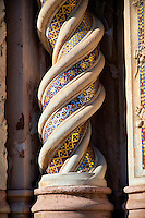 Close up of a medieval sculpted decotative twisting pillar on the14th century Tuscan Gothic style facade of the Cathedral of Orvieto, designed by Maitani, Umbria, Italy