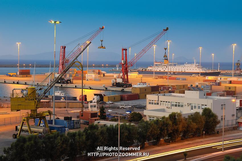 Night photo of cargo sea port in Heraklion, Crete (Greece)