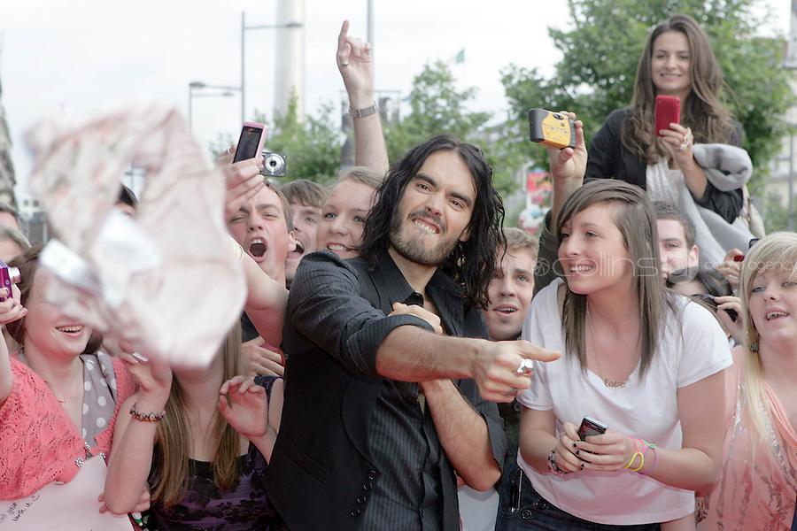 22/6/2010. Get Him to the Greek Irish Premiere. Russell Brand is pictured throwing knickers at the Savoy Cinema Dublin for the Irish Premiere of Get Him to the Greek. Picture James Horan/Collins Photos