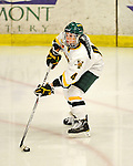 11 February 2011: University of Vermont Catamount defender Saleah Morrison, a Senior from Selkirk, Manitoba, in action against the University of New Hampshire Wildcats at Gutterson Fieldhouse in Burlington, Vermont. The Lady Catamounts defeated the visiting Lady Wildcats 4-2 in Hockey East play. Mandatory Credit: Ed Wolfstein Photo