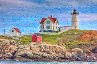 Cape Neddick Nubble Light, located in York, Maine.   The image was creatively modified to resemble a painting.
