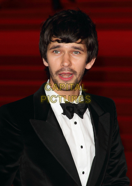 Ben Whishaw.Royal World Premiere of 'Skyfall' held at the Royal Albert Hall, London, England..October 23rd, 2012.headshot portrait black tuxedo bow tie white shirt stubble facial hair beard mouth open.CAP/ROS.©Steve Ross/Capital Pictures.