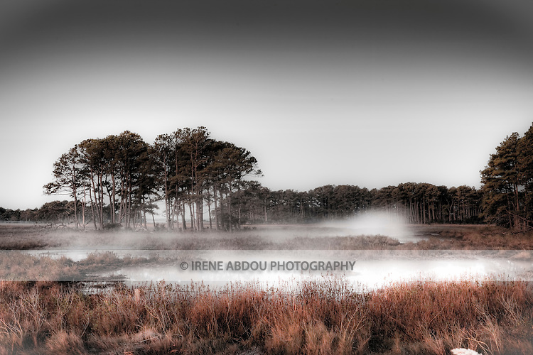 Mist rises above the waters at sunrise of the Chincoteague National Wildlife Refuge on Assateague Island, Maryland.