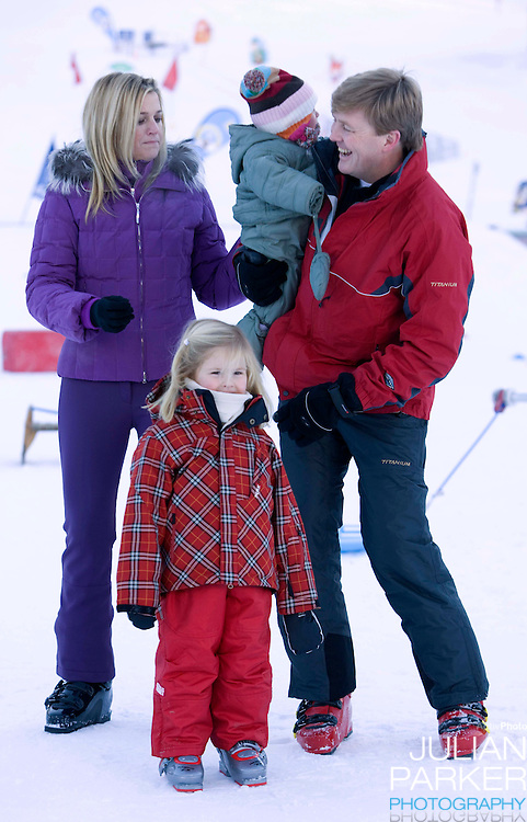 Crown Prince Willem Alexander, and Crown Princess Maxima of Holland with Daughters, Princess Catharina Amalia and Princess Ariane attend a Photocall with Members of The Dutch Royal Family during their Winter Ski Holiday in Lech Austria