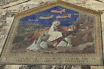 Israel, Jerusalem, a mosaic at the facade of the Church of the Visitation in Ein Karem depicting St. Mary on her way from Nazareth to visit Elizabeth