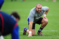 Tom Dunn of Bath Rugby in action during the pre-match warm-up. Aviva Premiership match, between Bath Rugby and Saracens on December 3, 2016 at the Recreation Ground in Bath, England. Photo by: Patrick Khachfe / Onside Images