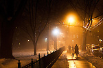 Jersey City, United States. 11th February 2013 -- People walk during a foggy night at Jersey City in New Jersey. Photo by Eduardo Munoz Alvarez / VIEWpress.