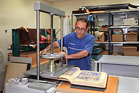 Once completed the facsimile goes into a press for the final process at the printing studio of Scriptorium SL in Valencia, Spain. Picture by Manuel Cohen