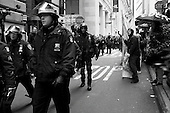 New York, New York<br /> November 17, 2011<br /> <br /> &quot;Occupy Wall Street&quot; protesters mark the movement's two-month milestone by marching from Zuccotti Park, in mass, to various access streets surrounding the New York Stock Exchange, which the police had barricaded off. Yet instead of the police keeping protesters out, protesters locked down those entrances to Wall Street and the New York Stock Exchange creating havoc as the police made more then 240 arrests to try and keep the streets open to normal traffic.<br /> <br /> At Williams and Pine street, NYPD arrest dozens of protesters,  including a woman in a wheelchair. The anti-Wall Street protesters intention to disrupting business as usual on Wall Street was successful.