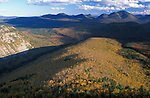 The view from Zeacliff in the White Mountain N.F. Pemigewasset Wilderness Area. Mount Carrigain is in the distance. Fall.  Appalachian Trail. Lincoln, NH