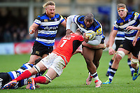 Beno Obano of Bath Rugby takes on the Saracens defence. Aviva Premiership match, between Bath Rugby and Saracens on December 3, 2016 at the Recreation Ground in Bath, England. Photo by: Patrick Khachfe / Onside Images